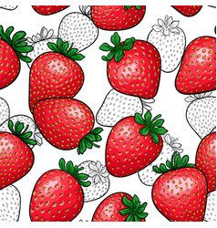 seamless pattern red strawberry with black and vector image