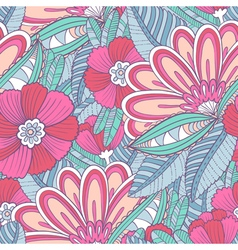 seamless pattern with decorative flowers and leav vector image