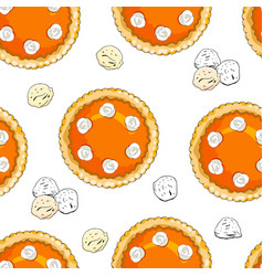 Seamless pattern with pumpkin pies and ice cream vector