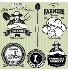 set badges with farmer and vegetables for the vector image
