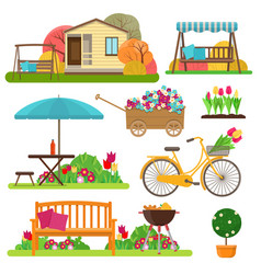 Set of beautiful garden scene with flowers bike vector