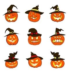 Set of halloween pumpkins with hat vector image