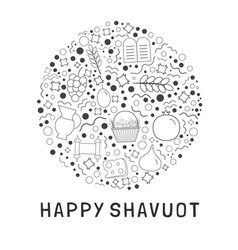 shavuot holiday flat design black thin line icons vector image