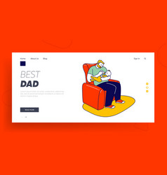 single father raising child website landing page vector image