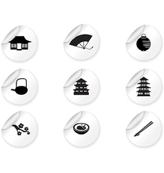 Stickers with japan icons vector image