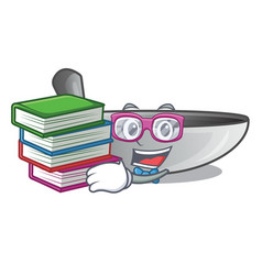 Student with book frying pan wok isolated on vector