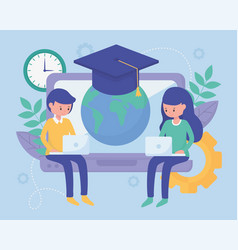 Students school education online image vector