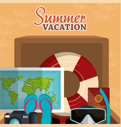 summer vacations beach with icons vector image