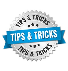 Tips tricks 3d silver badge with blue ribbon vector
