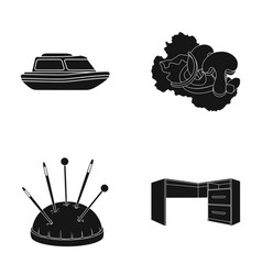 Tree furniture cafe and other web icon in black vector