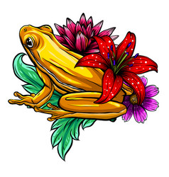 tropical frog with flowers vector image