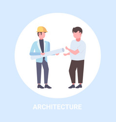 two architects with rolled up blueprints vector image