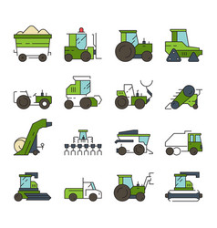 village transport farm machines and technique vector image
