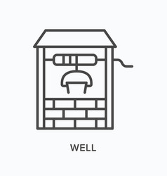 Well flat line icon outline vector
