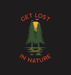 Wilderness adventure logo design print forest vector
