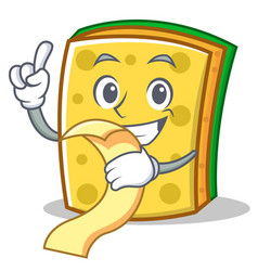With menu sponge cartoon character funny vector