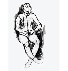 Woman drawing vector