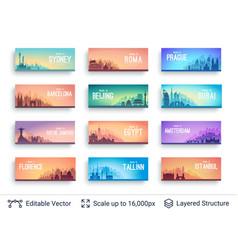 World famous city scapes set vector