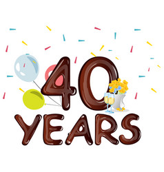 40th anniversary celebration design with flowers vector image