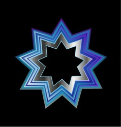 Bahai Religion Symbol- Nine pointed star vector image
