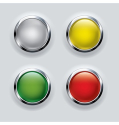 button set with metallic elements on background vector image vector image