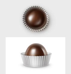 dark black bitter chocolate candies in white paper vector image