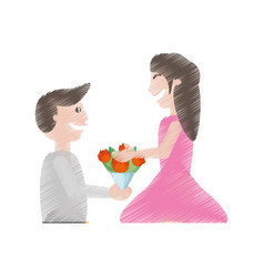 drawing man proposal woman flowers vector image