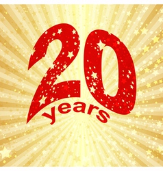 Greeting card with the 20th anniversary vector image vector image