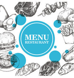 hand drawn menu restaurant sketch meat product vector image