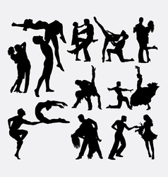 Happy dance couple silhouette vector image vector image