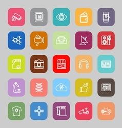 Hitechnology line flat icons vector image