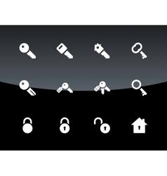 Key icons on black background vector image