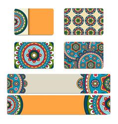 Mandala ornament business card or invitation vector image vector image