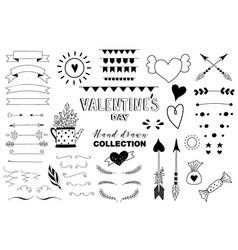 doodle set of design elements about love vector image