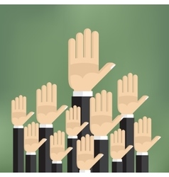 Raised hands on the green background vector image vector image