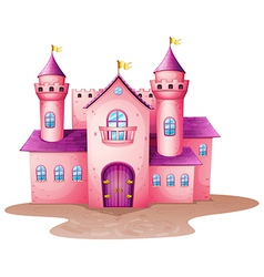 A pink colored castle vector image vector image