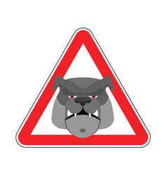 angry dog warning sign red bulldog hazard vector image vector image