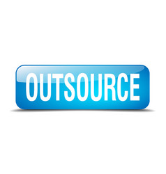 Outsource blue square 3d realistic isolated web vector