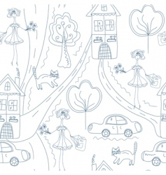 seamless cute pattern with girl vector image vector image