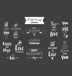 doodle set of lettering about love vector image