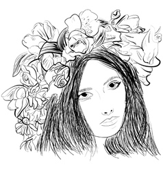 Girl wearing a wreath ink sketch vector image vector image