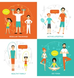 Healthy Family Flat Concept vector image