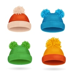 Knitted Color Hat Winter Set vector image
