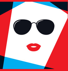 model women face in fashion sunglasses vector image