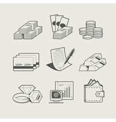 money and jewellery set of vector image