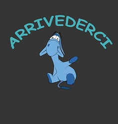 Sad donkey waving hand with italian text vector