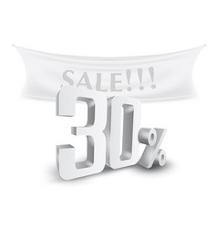 30 percent off silver sale text discount template vector image