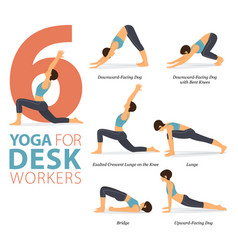 6 yoga poses for desk workers concept vector