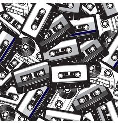 A set different audio cassettes seamless vector