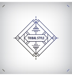 Abstract tribal line shape logo frame vector